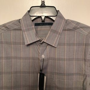 ⛰Perry Ellis long sleeve gray plaid shirt size S